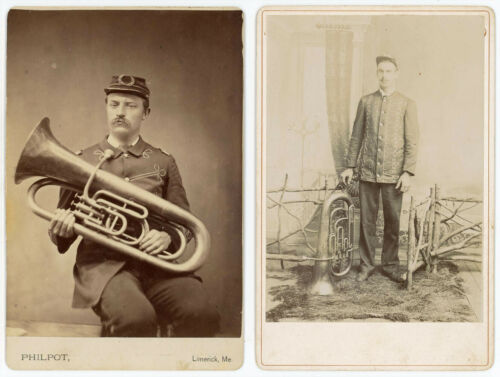 MUSICIANS Eb E FLAT TUBA 2 1880s CABINET CARD PHOTOS ONE FROM LIMERICK MAINE