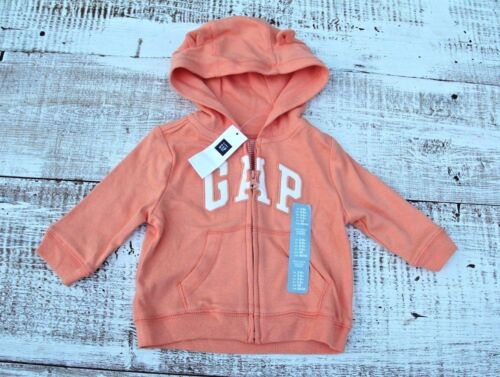 Baby Gap Boys Size 3-6-12 Mo NEW Orange Zip-Up Hoodie Logo Jacket