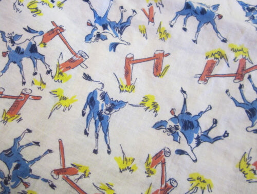 """Vintage Feedsack - 28""""x28"""" cows, calves fence, pink, blue, yellow on white"""