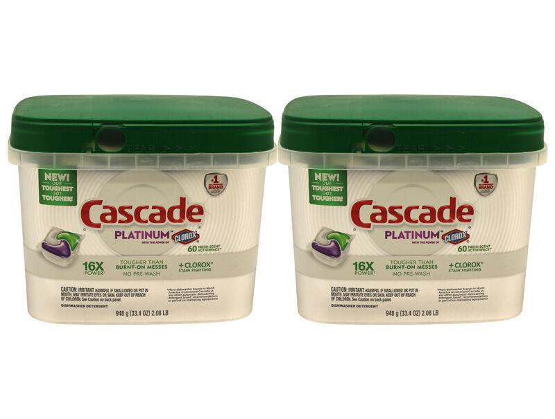 120 Pack Cascade Platinum ActionPac Dishwasher Detergent With Clorox Fresh Scent