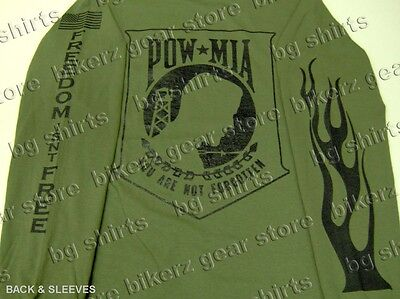 Pow / Mia Veterans L/s Flame Od Green T Shirt S-xl Army Marines Clearance Sale