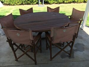 Circular outdoor timber table and chairs Wavell Heights Brisbane North East Preview