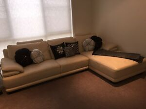 Leather Lounge with Chaise Beige/Cream Nick Scali Chanel Revesby Heights Bankstown Area Preview