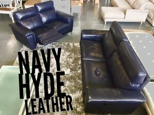 Navy Blue Leather Recliner SET - ON SALE Dandenong South Greater Dandenong Preview