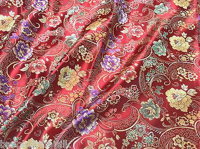 RED FLORAL GREEN PURPLE BROCADE EMBROIDERED FAUX SILK SHANTUNG FABRIC DRESS](Purple Brocade Dress)