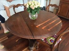 Solid cedar gateleg table and four reupholstered  chairs Warriewood Pittwater Area Preview