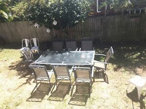 Outdoor 9 piece dining setting glass top and two rotating seats Annerley Brisbane South West Preview