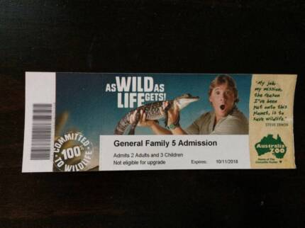 Australia Zoo Family Pass 2 Adults + 3 kids (General Admission)
