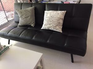 LEATHER FOLD OUT COUCH Arncliffe Rockdale Area Preview