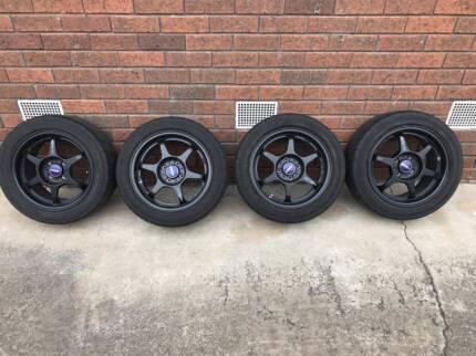 Buddy Club P1 Racing mag Wheel 4 100 4 stud yokohama ad08r tyres