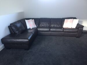 Brown leather modular couch with chaise  -Harvey Norman Tranmere Campbelltown Area Preview