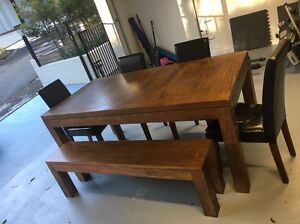 Beautiful New York Style Timber Table w/ bench and 4 chairs Lindfield Ku-ring-gai Area Preview