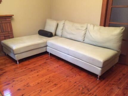 Light Olive Green King Leather Lounge