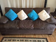 Chocolate Brown Suede 3 and 2 seater sofas Dungog Dungog Area Preview