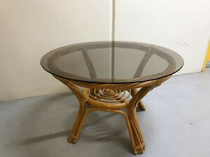 Quality cane circular coffee table + bonus 2 little stools Frenchs Forest Warringah Area Preview