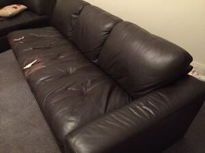 Brown Leather Lounge Sofa to pick up FREE Croydon Burwood Area Preview