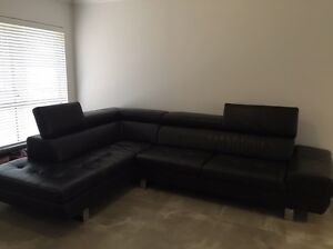Black Leather lounge and chaise Georges Hall Bankstown Area Preview