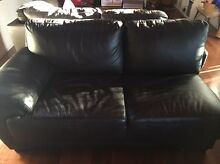 Black leather 2 seater lounge Goodna Ipswich City Preview