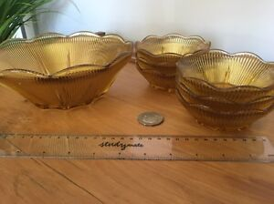 Beautiful Amber glass bowl with 6 matching dessert dishes Birmingham Gardens Newcastle Area Preview