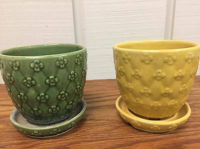 Vintage Mid Century Shawnee Pottery 454 Green Yellow Flower Pot Planter Lot of 2