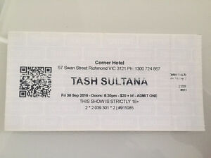 2 x Tash Sultana tickets (face value) Richmond Yarra Area Preview