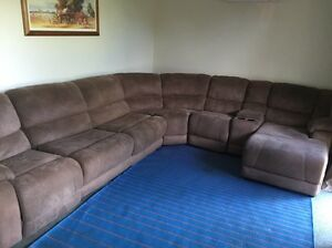Corner 6 Seater Lounge with Chaise + Recliner + Sofa Bed + Cup Holders Heritage Park Logan Area Preview