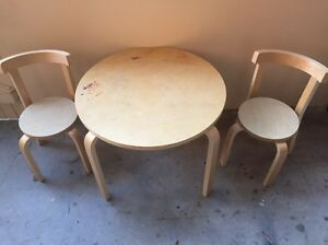 Children's table and two chairs, wooden Fairlight Manly Area Preview