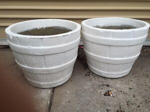 PAIR Vintage Retro Barrel Shaped Concrete Pots Prahran Stonnington Area Preview