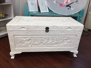 Shabby chic carved wooden chest Bassendean Bassendean Area Preview