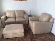 Cream leather lounge suite - 2 seat sofa, armchair & ottoman Cremorne North Sydney Area Preview
