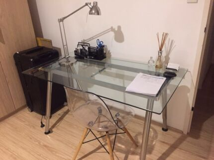 Glass Study Desk With Study Lamp