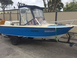 BOAT 4.5M JOHNSON OUTBOARD MOTOR REGO READY TO GO Campbellfield Hume Area Preview