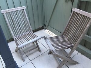 Two outdoor folding wooden chairs Balmain Leichhardt Area Preview