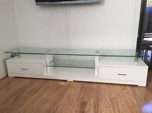 White and glass Entertainment Unit Coogee Eastern Suburbs Preview