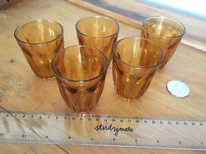 Five small retro amber glasses Birmingham Gardens Newcastle Area Preview