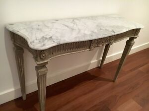 HALL TABLE- French Style with Marble Waverley Eastern Suburbs Preview
