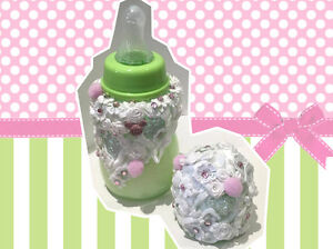 Romany Reborn 5oz Baby Bottle fake milk formula Milk Suit Doll green and pink