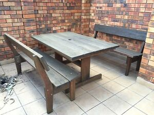 Herons Creek Outdoor wooden table and bench chairs Dee Why Manly Area Preview