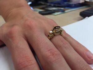 18ct yellow gold ring with 12x .21 diamonds and marquise garnet Paddington Eastern Suburbs Preview