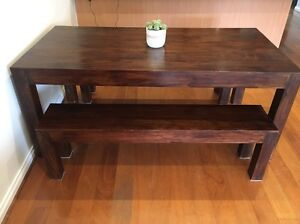 Solid timber dining table and bench seats Coburg Moreland Area Preview
