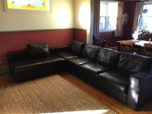 Large leather lounge with chaise North Lambton Newcastle Area Preview