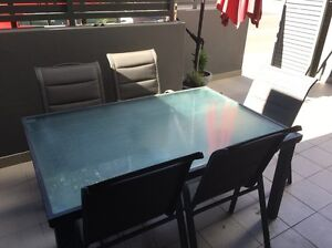 Outdoor glass top table with 6 chairs Lane Cove Lane Cove Area Preview
