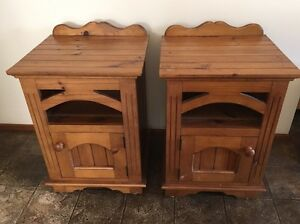 Heritage colour bedside tables solid timber wood Excellent condition Revesby Bankstown Area Preview