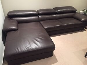 Leather Lounge with Chaise Lindfield Ku-ring-gai Area Preview