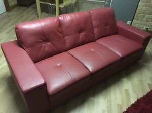 Red leather sofa set Rossmoyne Canning Area Preview