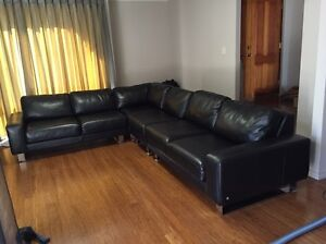 Leather couch black 6 seater modular Kardinya Melville Area Preview