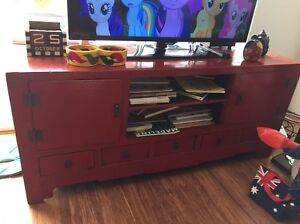 Red wooden TV stand Balgowlah Manly Area Preview