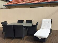 Outdoor black rattan dining setting and sun lounge Somerton Park Holdfast Bay Preview