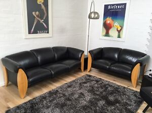 Tasmanian oak Leather Couches Beaumaris Bayside Area Preview