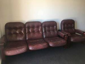 3-SEATER BROWN LEATHER COUCH + ARMCHAIR Bruce Belconnen Area Preview